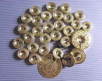 29 Beautiful Vintage Gold Buttons Lot - destash gold tone hole buttons by Sterling Button Company, Inc.