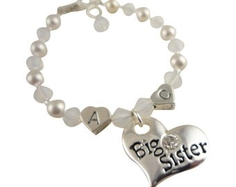 Initial Bracelet, Personalized for Big Sister or Lil Sister