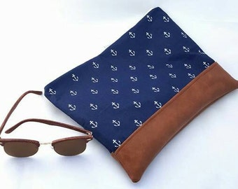 Large Navy and white nautical clutch bag with anchors and rust brown bottom/bridesmaid gift/graduation gift/gifts under 25