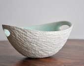 Mint Green Ceramic Bowl - Walnut - White Ceramic Bowl Porcelain Bowl