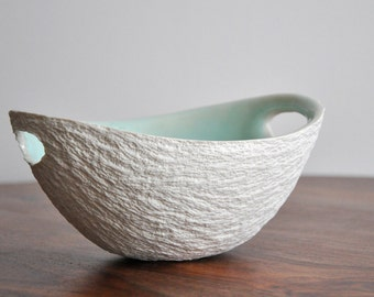 Mint Green Medium Modern Walnut Bowl - White Porcelain Bowl Ceramic Dish