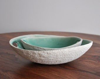 Large Copper Blue Oval Walnut Serving Bowl with Handles -  Texture Porcelain White Platter Dish Bowl