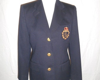 Ralph Lauren womens blazer jacket, Navy Blue Wool Jacket