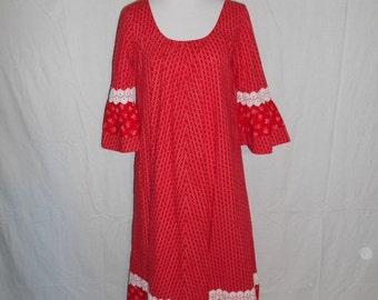 SALE 60's 70's   Red  white Hawaiian Vintage    maxi dress     Hilda Hawaii