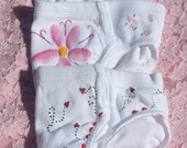 Set of 3 Panties, ladybugs, bees and flowers (girls underwear size XXsmall, Xsmall,Small, Medium and Large) Hand Painted