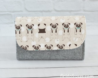 Small Accordion Wallet Pugs Cell Phone Wallet Clutch Dog