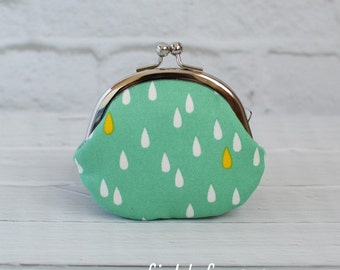 Clasp Change Coin Purse Raindrop Green Earbud Holder Kisslock Purse Rosary Case Jewelry Case Metal Frame Purse