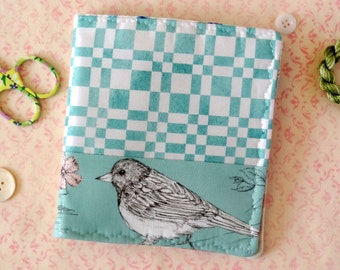 Bird Needle Case Pen and Ink Drawing Fabric Pin Keep