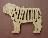 English Bulldog Dog Ornament Wooden Figure Decoration Hand Cut