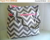 SALE Chevron Diaper Bag  Made of Gray and Pink- Adjustable Strap - Diaper Bag - Messenger Bag - Chevron Diaper Bag - Personalized