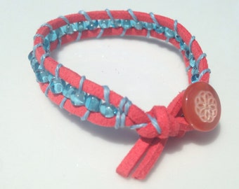 wrap bracelet red blue yellow button