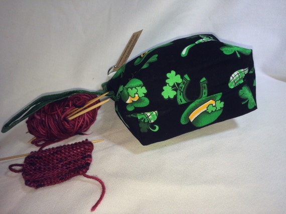 Knitting Project Bags For Sale : Sale st patrick s day single shot snappy knit project bag
