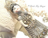 Queen Margo Necklace Wearable Art Doll Pendant OOAK Statement Necklace Mixed Necklace Lorelie Kay Original