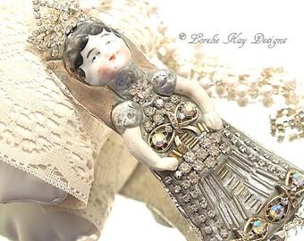 Queen Margo Necklace Wearable Art Doll Pendant OOAK Statement Necklace Mixed Necklace Lorelie Kay Original
