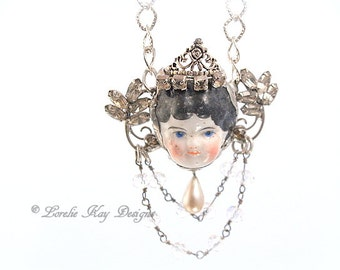 Little Princess Necklace Soldered China Doll Head Frozen Charlotte Doll Head with Crown Pendant