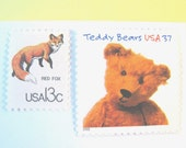 Vintage Postage Stamps Unused, Teddy Bear, Chipmunk, Fox, Mail 10 Baby Shower Invites, Birth Announcements, or Cards, 49 cent postage stamps