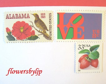 Southern Love Postage Stamps, Alabama Crimson Camellia Stamp, Summer Berries, Mail 10 Cards or RSVPs 1 oz, postage stamps unused 47 cents