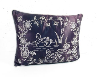 Vintage embroidery pillow, swan pillow, throw pillow, black satin, black and pink, hand made embroidered swan lake