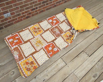 Vintage sleeping bag, 1970s sleeping bag, orange and yellow floral quilted print, zippered, soft cotton, camping