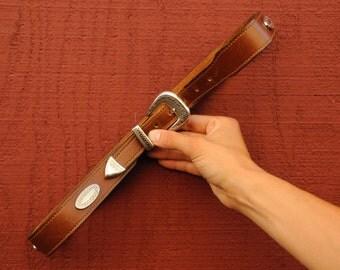 Harness Leather Belt, Silver Concho Belt, Belt, Leather Belt, Cowboy Belt, Rancher Belt, Western Belt, Brown Leather Belt, USA Made
