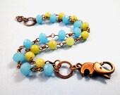 Elephant Clasp Bracelet, Baby Elephant Walk, Turquoise Green and Brass, Double Strand Beaded Bracelet, FREE Shipping U.S.