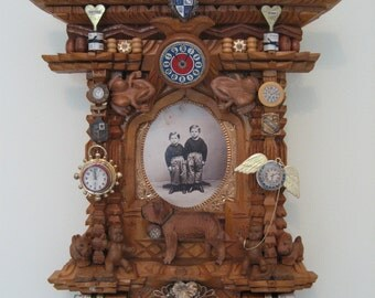 "Assemblage ""Saving Time"" original found object wall art"