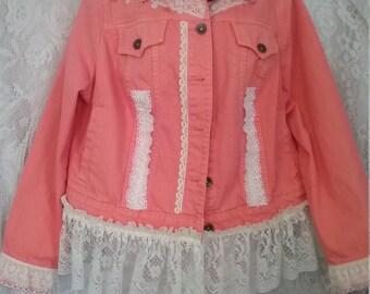 Upcycle Peach Denim Jacket