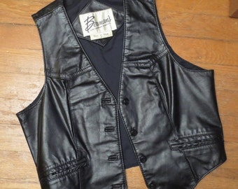 ON SALE Vintage Black Leather Vest Size 8 Ladies Boho 1970's