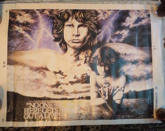 """SALE Vintage Jim Morrison The Doors Poster, No One Here Gets Out Alive 25 x 36"""""""