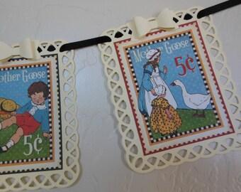 Mother Goose Garland - Nursery Rhymes - Gender Neutral Baby Shower Decoration