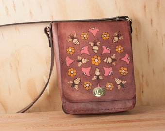 Small Leather Cross body Bag - Shoulder bag in the Meadow Pattern with Bees and Flowers - Antique Mahogany, pink and gold - Womens Handbag