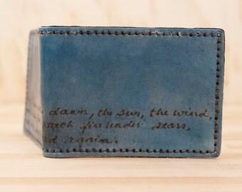 Mens Wallet - Personalized Custom Leather Wallet - Smokey pattern in Blue