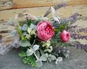 Lavender herb wedding bouquet, ranunculus, silk flower bridal bouquet, purple, pink, fuschia, lavendar, SALE ready to ship