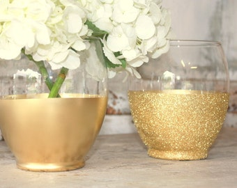 Gold vases, wedding decor, 24 Gold dipped centerpiece vases, gold glitter vase, wedding table decor, gold candle holder, wide mouth bouquet