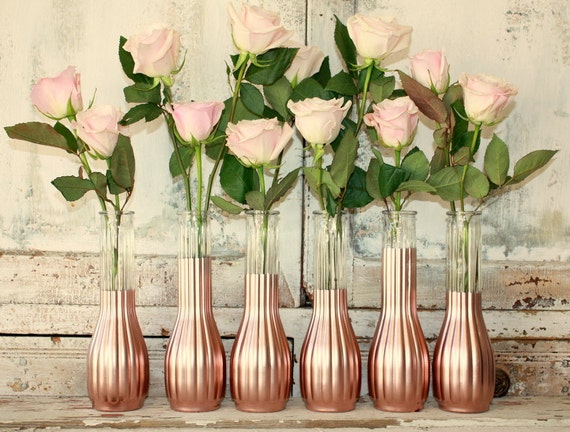 Rose gold vases gold wedding decor set of 6 by thepaisleymoon for Decoration rose gold