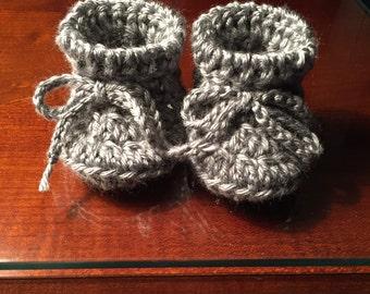 Grey Baby Booties, gray newborn booties, baby socks