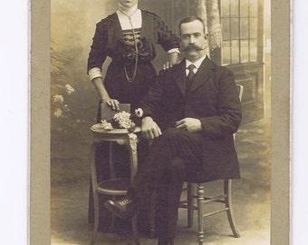 Antique Cabinet Photograph.Couple.Victorian.Paper Ephemera.Moustache.Craft artist.collage.art.portrait.french.paris.collect.historical.rare