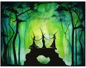 Witchy Painting - Witch Ball - Fire Dance Painting - Three Forest Witches