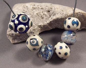 Handmade Lampwork Beads by Monaslampwork - Metallic Blues - Handmade Lampwork Beads by Mona Sullivan Artisan Beads Boho Organic Gypsy