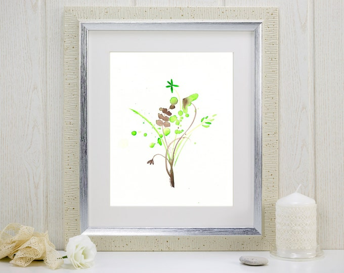 """Watercolor art print in pale green and brown: """"Field Flowers"""""""