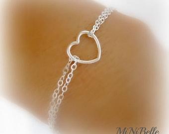 Heart Bracelet. Simple Heart Bracelet. Dainty Heart Bracelet. Mom Bracelet. Bridesmaids Bracelet. Flowergirl Bracelet