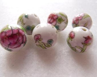 Vintage China Floral Handpainted Porcelain Ceramic Beads - 14mm - Lot of 6