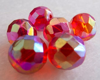 Vintage Beads Austria 1956 Bright Red Iridescent Faceted Glass Beads - 13mm - Lot of 6