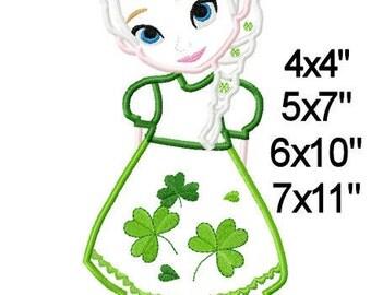 St Patrick's Day Princess EIsa Machine Embroider Applique Design Digital Pattern 4x4 5x7 6x10 7x11 INSTANT DOWNLOAD