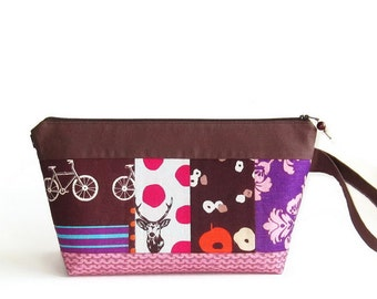 Wedge Bag, Small-Project Size Knitting Bag, Japanese fabric patchwork, one of a kind