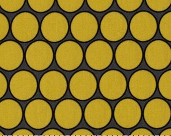 CLEARANCE 1.75 Maggie Maye Huevo Fabric in Citron and Gray Circles