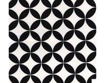 CLEARANCE 1.75 Yards Alexander Henry Diamond Eye fabric and black and white