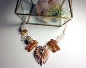 Antoinette Necklace Pink Mixed Media Crystal and Stone Statement Necklace