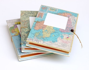 Personalized Travel Journal with Pockets and Envelopes, Map Notebook, Trip Diary, Made to Order