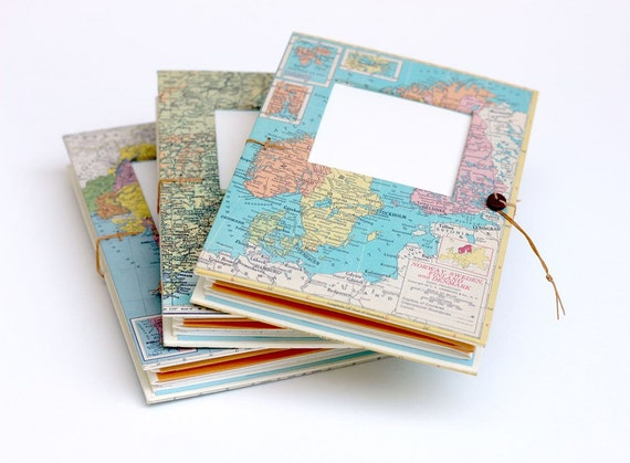 Personalized Travel Journal with Pockets and Envelopes - Choose your Map notebook. Personalized and Made to Order - For lovers of travel